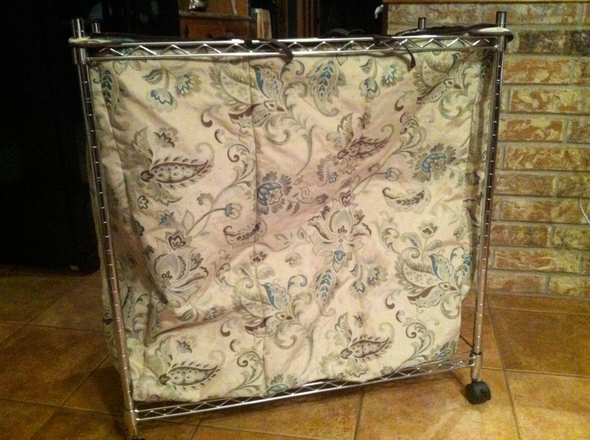 Fantastic Laundry Sorter made from Jacobean upholstery fabric