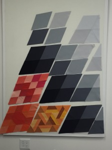 Photo of grey background pieces and blocks